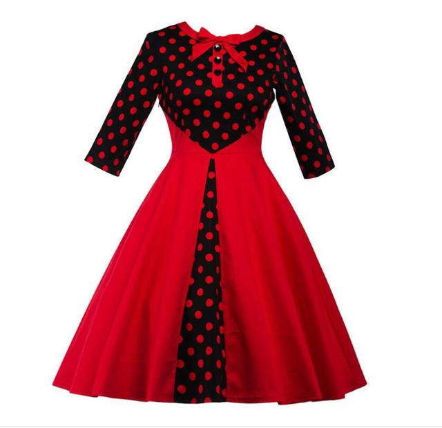 1950s 1960s Vintage Style Bowknot Collar Polka Dots Patchwork Dress ...