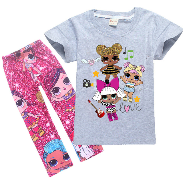 New Toddler Kids Pajamas Set Children Sleepwear Suit Lol Dolls for Girls  Baby Girl Casual Cotton Nightwear Clothes Infant 4-12Y 167bf9a3c