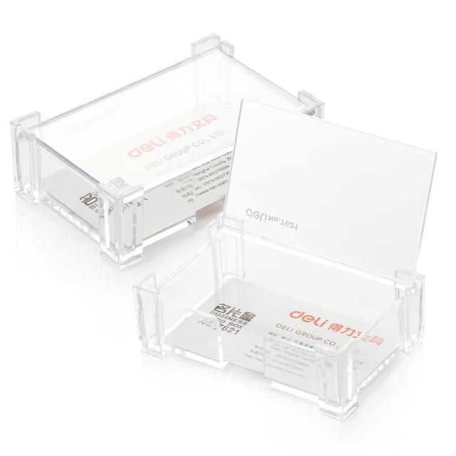 Offres Speciales Transparent En Plastique Bureau Carte De Visite Boite Rangement Avec Housse Protection