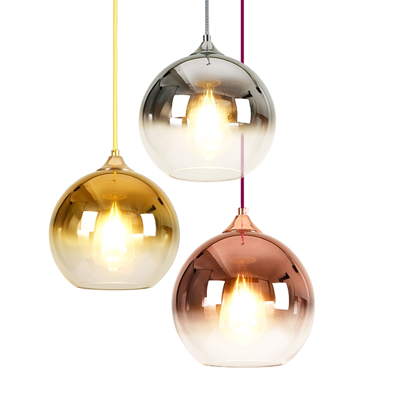Modern Mirror Glass Ball Pendant Lights LED Globe Hanging Lamp Vintage Kitchen Home Lighting Fixtures Pendant Lamps Decoration