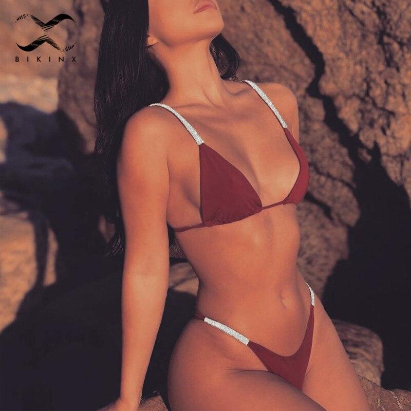 c605522c0b304 Κολύμπι Shimmer and shine string bikini 2019 woman Push up triangle  swimsuit women thong micro bikini Sexy deep v brazilian bathing suit