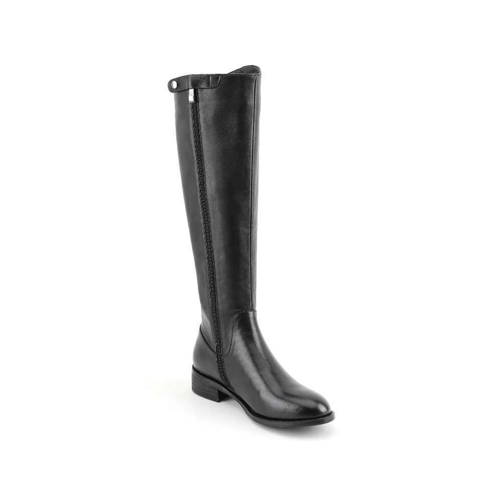Kış hakiki deri sıcak uyluk yüksek çizmeler düşük topuklu olgun kadın zip özlü avrupa tasarımcısı tatil binicilik botları L60