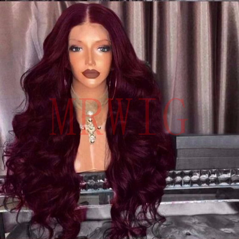 MRWIG Heat Resistant Fiber Hair Deep Curly Synthetic Lace Front Wigs Middle Part Brown/Wine/Black Hair Color 26in