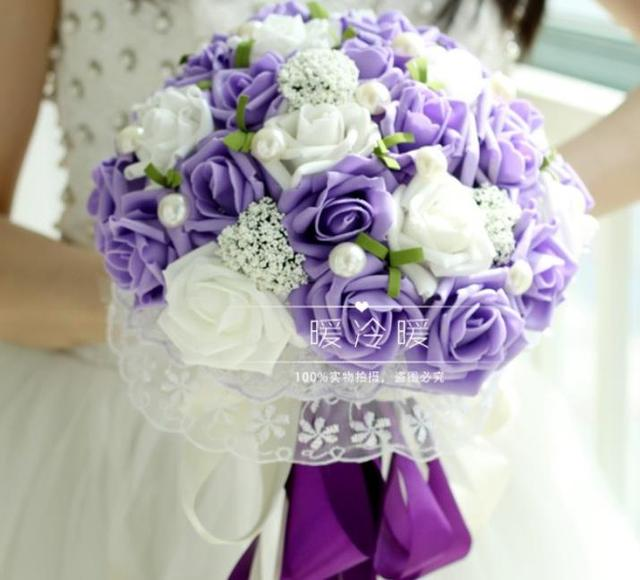 All Handmade Bridal Flower Wedding Bouquets Artificial Pearls ...