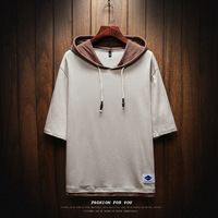 Summer hooded hood large size 5XL men's five point sleeve fashion T shirt loose solid color stitching street hooded clothes