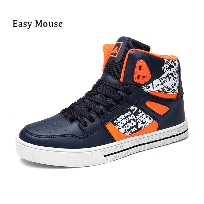 Prix pour Facile Souris Chaussures de Skate Pour Garçon de Marche En Plein Air Chaussures 2017 nouveau Style Hommes Appartements Lace Up High-Top Hommes Sneaker Résiste À chaussures