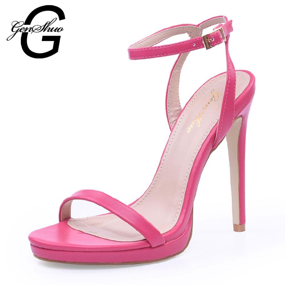 GENSHUO Verão das Sandálias das Mulheres Sapatos De Salto Alto Sexy Sapatos de Plataforma Do Dedo Do Pé Aberto Mulher Com o Tornozelo Bracelete Gladiador Sapatos Stilettos