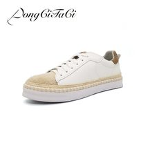 d0ef243ccbd DongCiTaCi Women Casual Flat Shoes Woman Loafers Round toe Female Lace up Straw  hemp rope Retro Student Fisherman Shoes 35-40