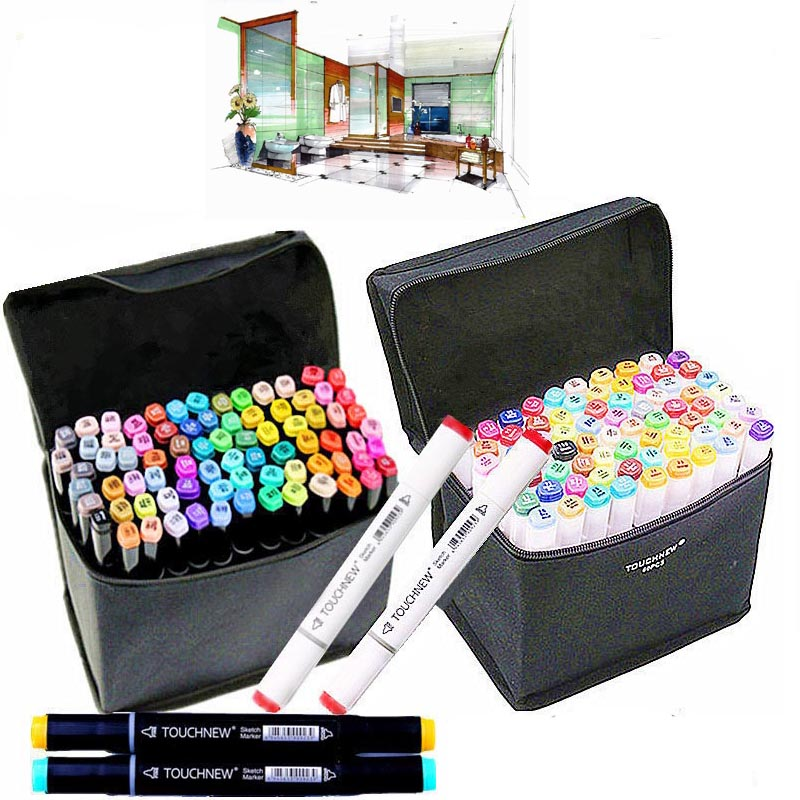 30 40 Colors Drawing Marker Pen Design Artist Dual Head Copic Markers Sketch Set Watercolor Brush