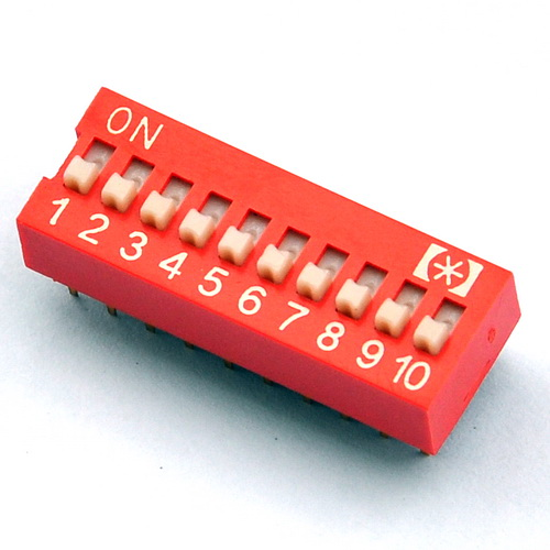 ( 100 Pcs/lot ) 10 Way DIP Switch, 10 Position 20 Pin PCB Mountable.