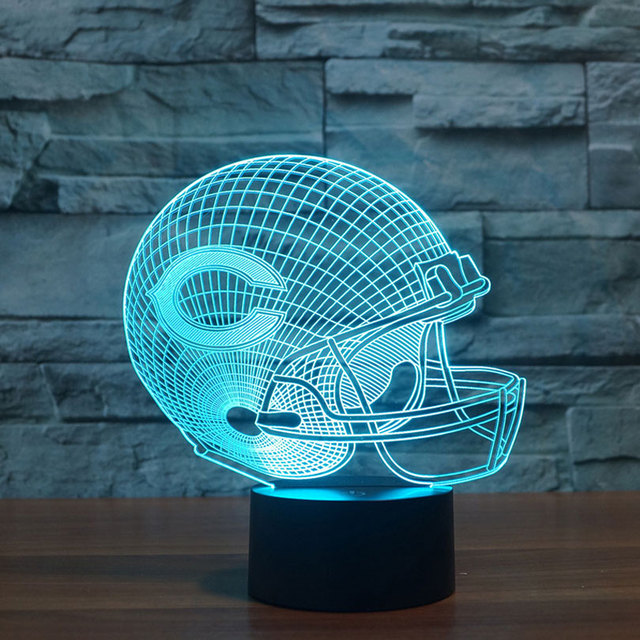 NFL Team Logo 3D Light LED Chicago Bears Football Helmet Sport Cap ...