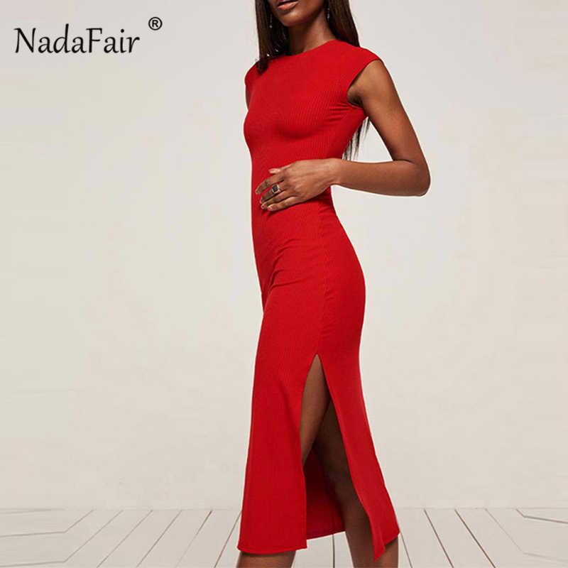 a0a97dcf767 Nadafair Разделение без рукавов Танк платье миди Для женщин Высокая Талия  Bodycon курарт вязаное платье с