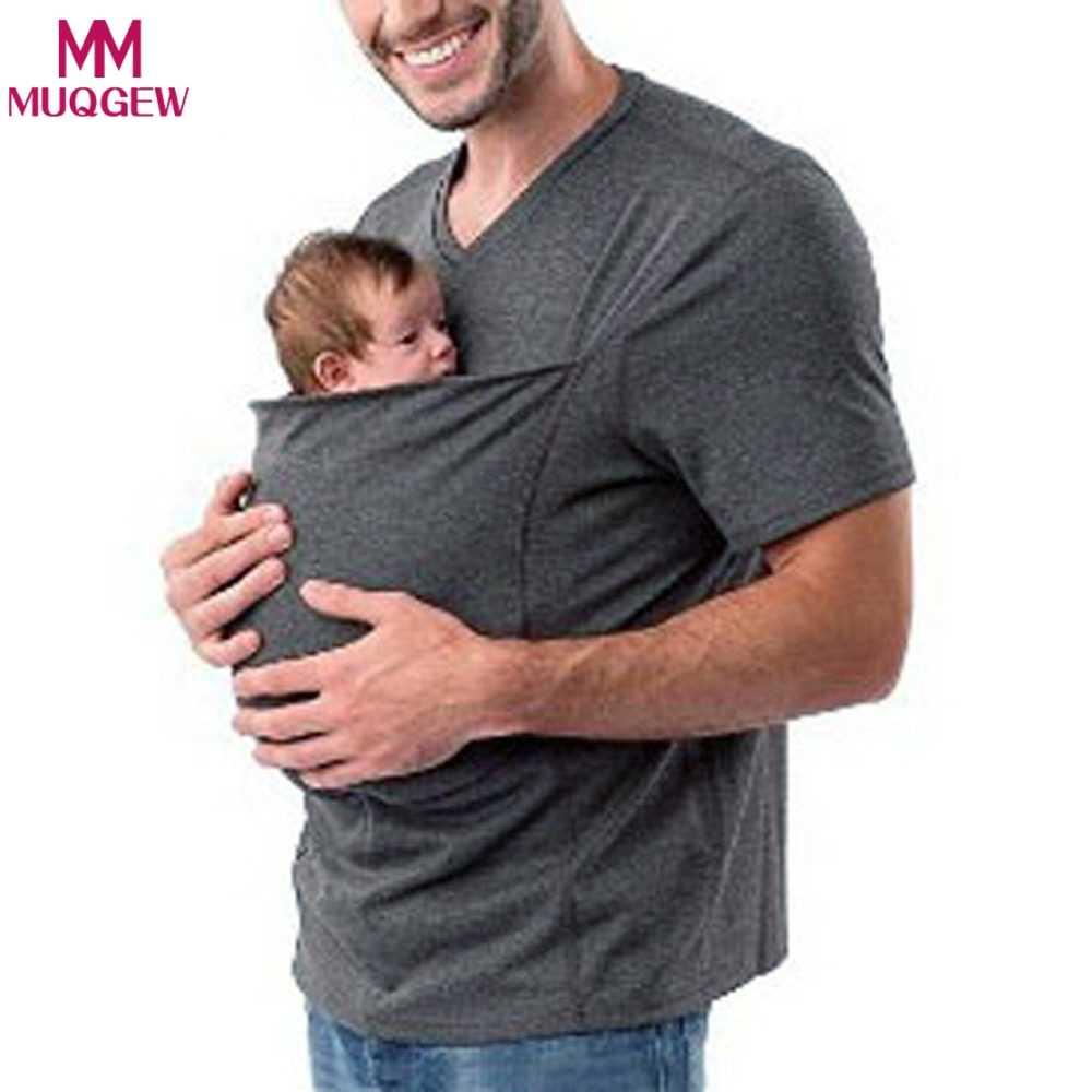 2019 caliente portabebés Sling Kangaroo camiseta hombres multifunción de manga corta Camiseta para papá bebé camiseta