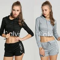 111 11 Alishebuy New Fashion Women Hooded 2PCS Shorts Sets Long Sleeve Casual Sports Loose Jumpsuit