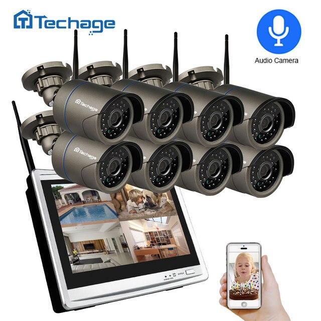 """Techage 8CH 1080 720p ワイヤレスセキュリティカメラシステム 12 """"液晶モニター Wifi NVR 屋外オーディオ CCTV カメラ P2P ビデオ監視セット"""