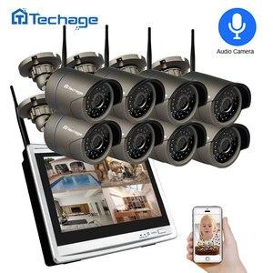 """Image 1 - Techage 8CH 1080P Беспроводная система охранной камеры 12 """"ЖК монитор Wifi NVR наружная Аудио CCTV камера P2P комплект видеонаблюдения"""