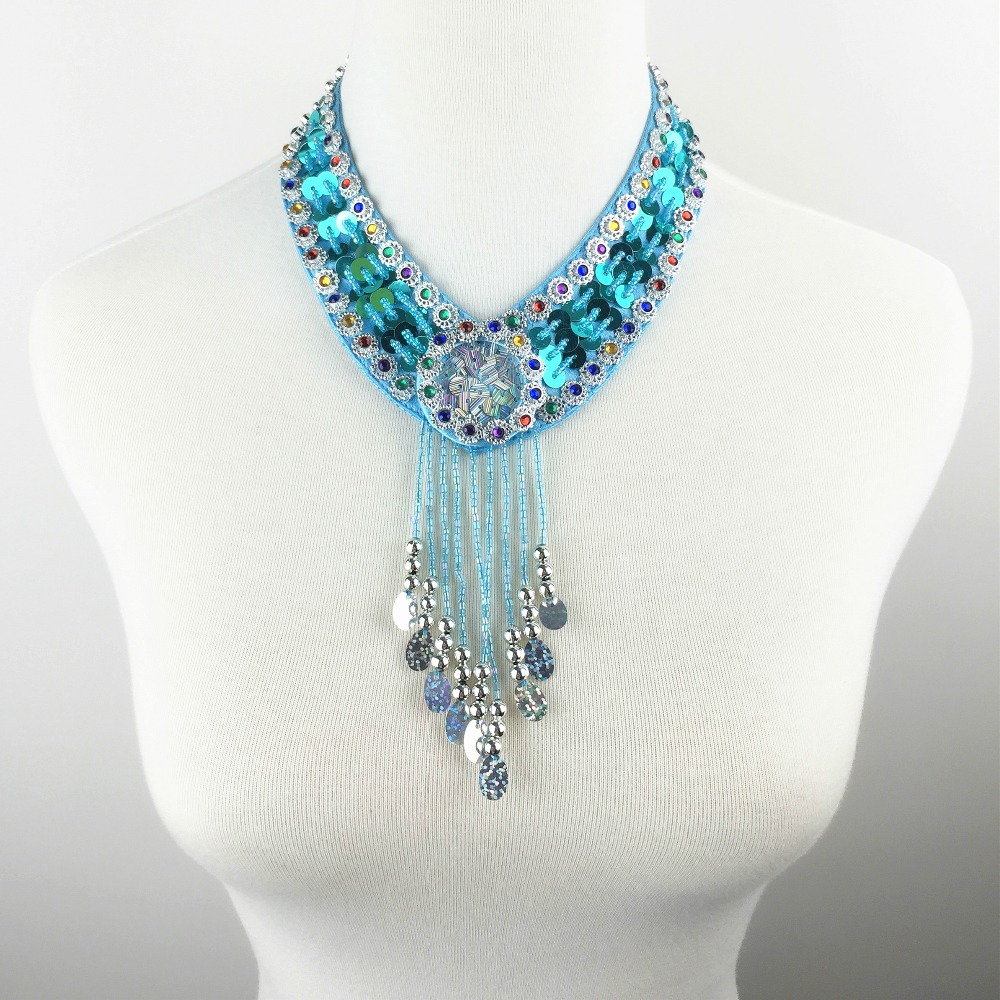 12 Colors Cheap Dance Jewelry Oriental Dance Costume Accessories Sequins Beaded Adjustable Belly Dance Necklace Oriental Jewelry