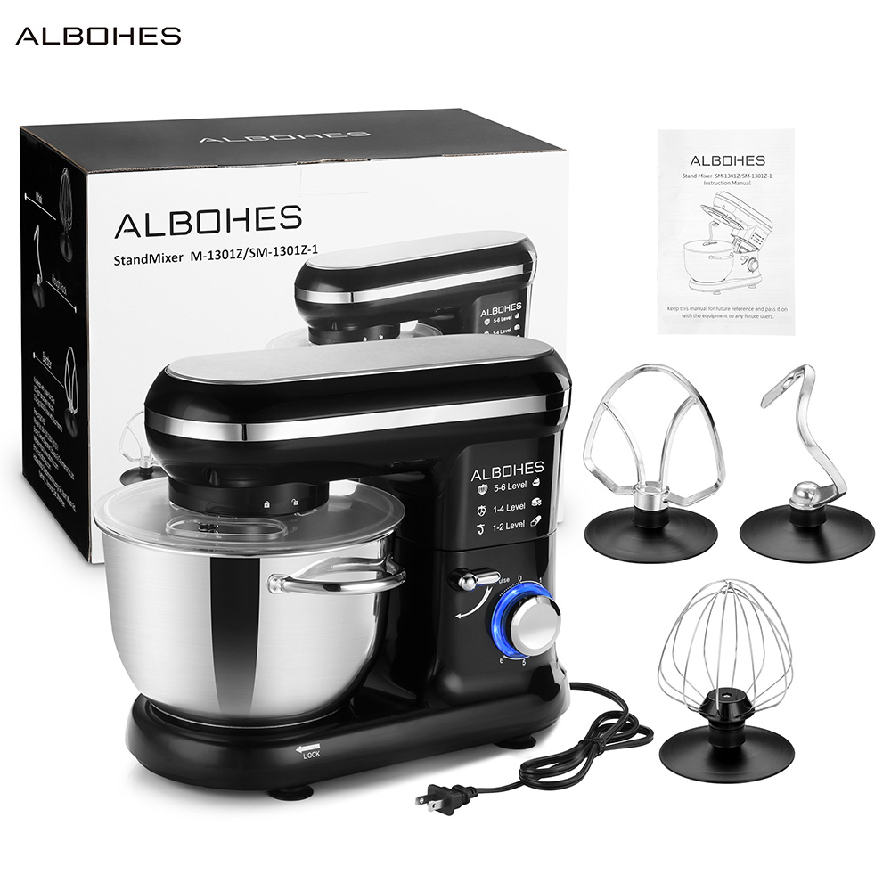 ALBOHES SM-1301Z Pro 5.5L 600W Bowl-Lift Stand Mixer Portable Blenders Food Processor 6 Speed Settings Kitchen Appliances
