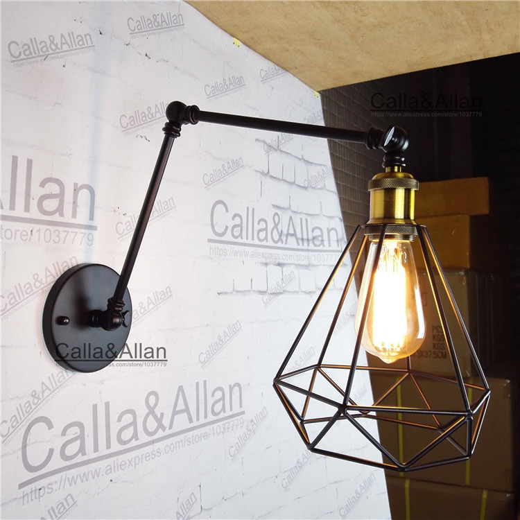 Lámpara De Loft Pequeña Pared Industrial Vintage Jaula Hierro xrCshdtQ