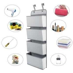 Image 3 - 4 kieszenie drzwi ściany wiszące bagażu organizator z hak oszczędność miejsca uchwyt do przechowywania torba na zabawki szafy w sypialnia salon