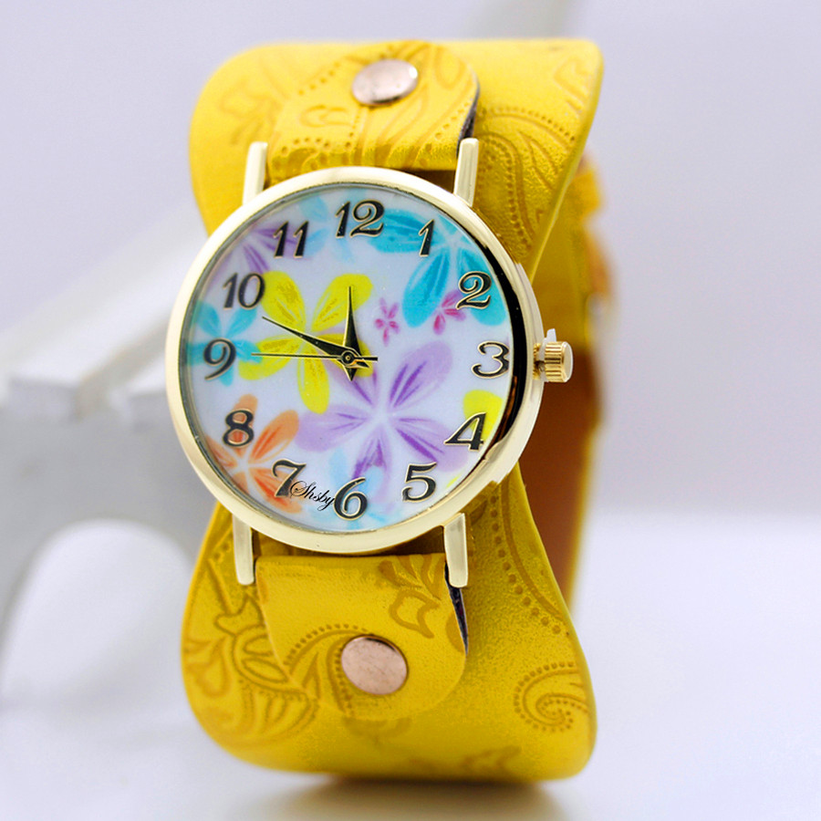 shsby Imprimé en cuir Bracelet Montre-bracelet large bande femme robe Montre fleurs colorées shsby cadeau de fille Casual Watch