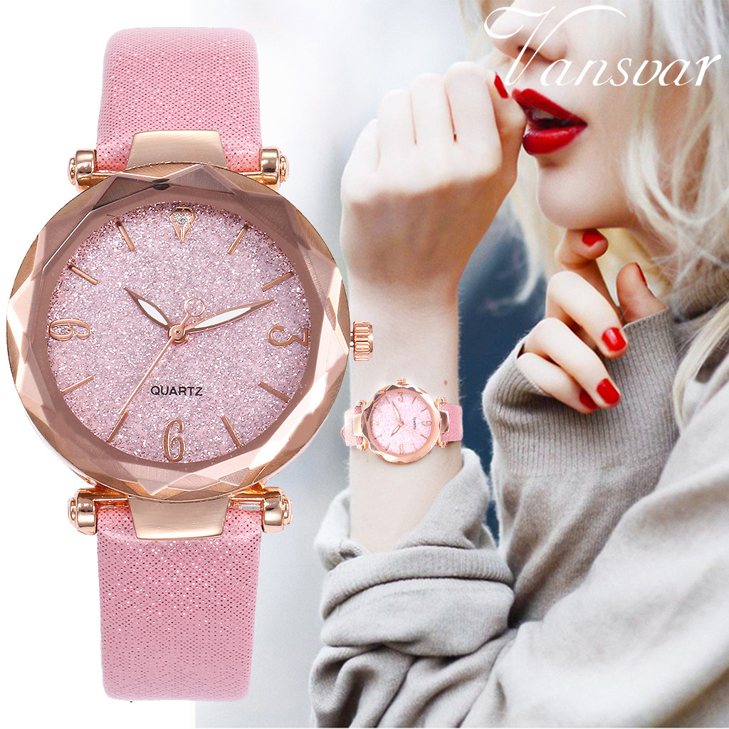 Vansvar Women's Casual Quartz Leather Band Starry Sky Watch Analog Wrist Watch Ladies Fashion Watches Clock relogio feminino A10