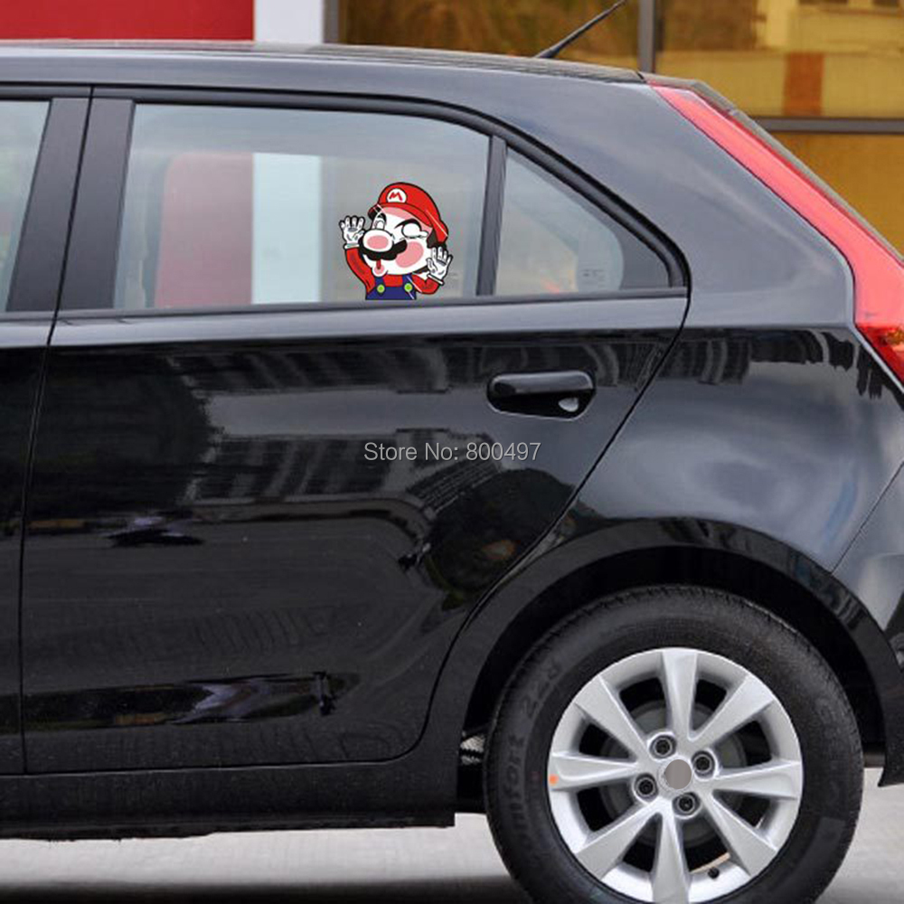 10 x Funny Super Mario Hitting the Glass Car Body Sticker Car Decal for Toyota Chevrolet Volkswagen Tesla Honda Hyundai Kia Lada