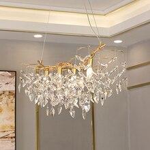 יוקרה זהב קריסטל נברשת מנורת עיצוב הבית תאורת cristal זוהר תליית נברשות בר אור