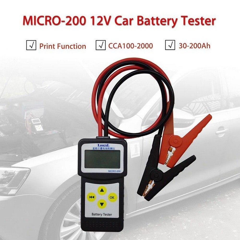 Micro 200 Car Battery Tester 12V CCA100-2000 Car Diagnostic Tool Automotive Battery System Analyzer USB for Printing