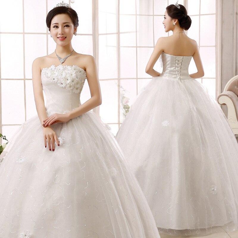 2018 New Arival Cheap Wedding Gowns Lace Up Wedding Dresses Plus Size Tulle Crystal Floor Length Bridal Gown Vestidos De Novia