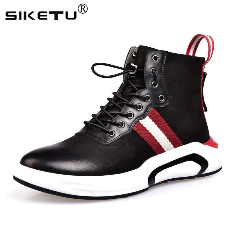 Fashion Zipper Heel Design Genuine Leather Shoes Men Boost Comfortable Breathable Men Casual Shoes Superstar Trainers Sneakers fashionable buckle and double zipper design casual shoes for men