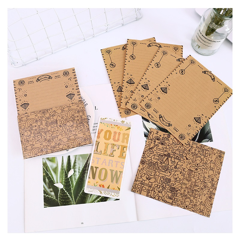 12Pcs/Set  4 Envelops + 8 Writting Paper Maze Type Envelopes Sobres Paper Letter Paper Set Stationery Gift