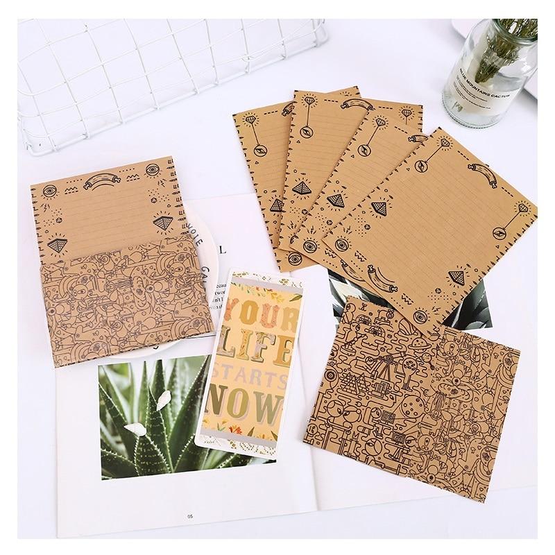 12Pcs/Set  4 Envelops + 8 Writting Paper Maze Type Envelopes Sobres Paper Letter Paper Set Stationery Gift