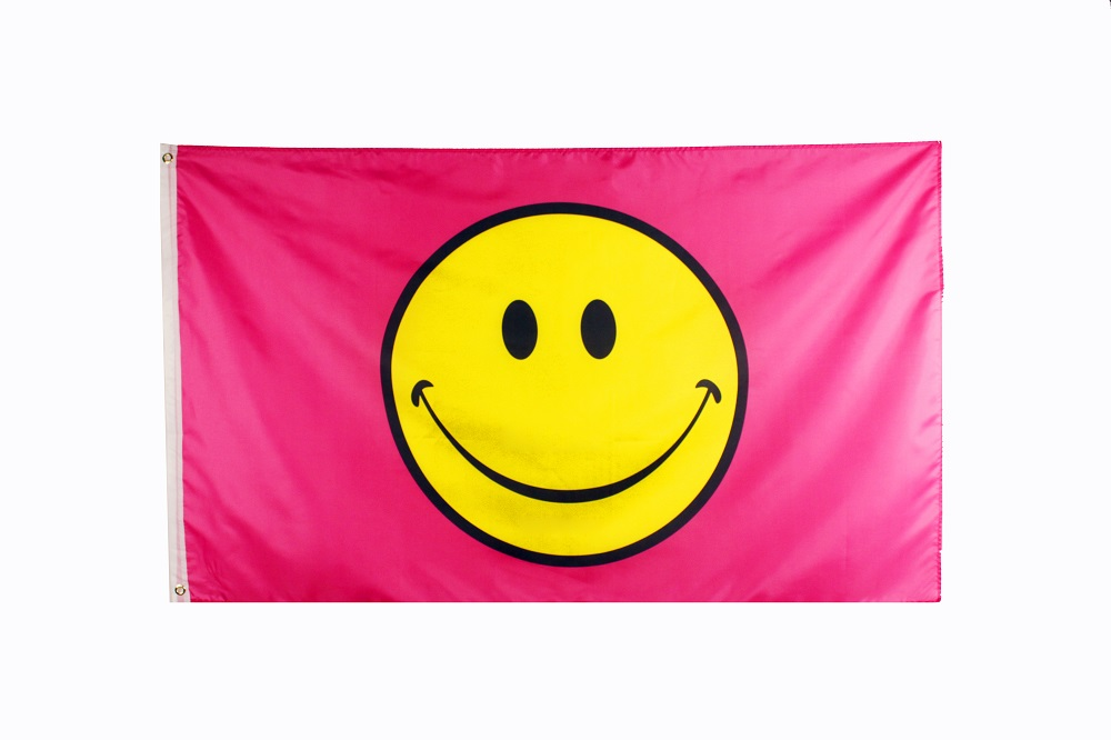 Johnin 3x5fts Happy Face Pink Smiley Smile  Flag