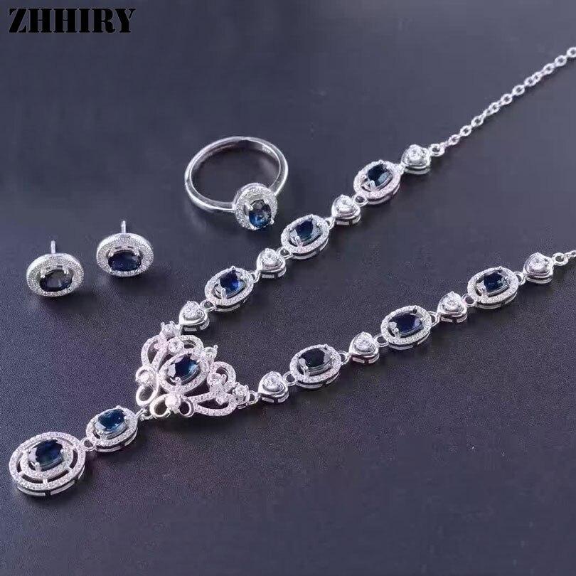 Для женщин натуральный Spphire Ювелирные наборы из натуральной Драгоценное кольцо Серьги кулон Цепочки и ожерелья 925 серебро