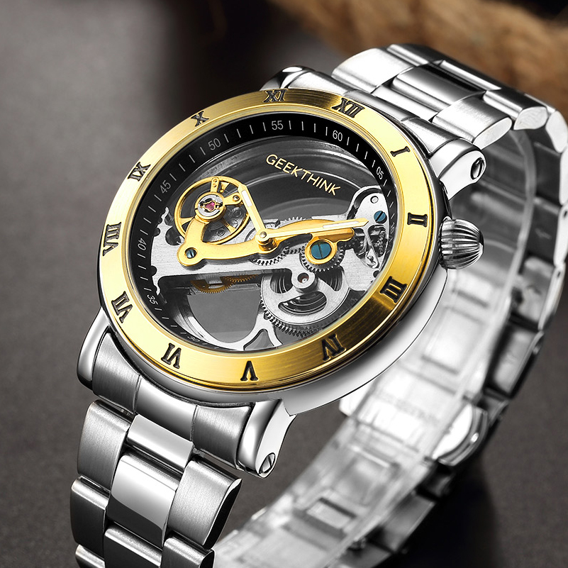 Men's Watch Automatic Mechanical Clock Stainless Steel 5Bar Water Resistant Skeleton Wrist Watch Luxury Brand Business Watches mce luxury fashion gold watch women high quality skeleton mechanical watch full stainless steel water resistant wrist watches