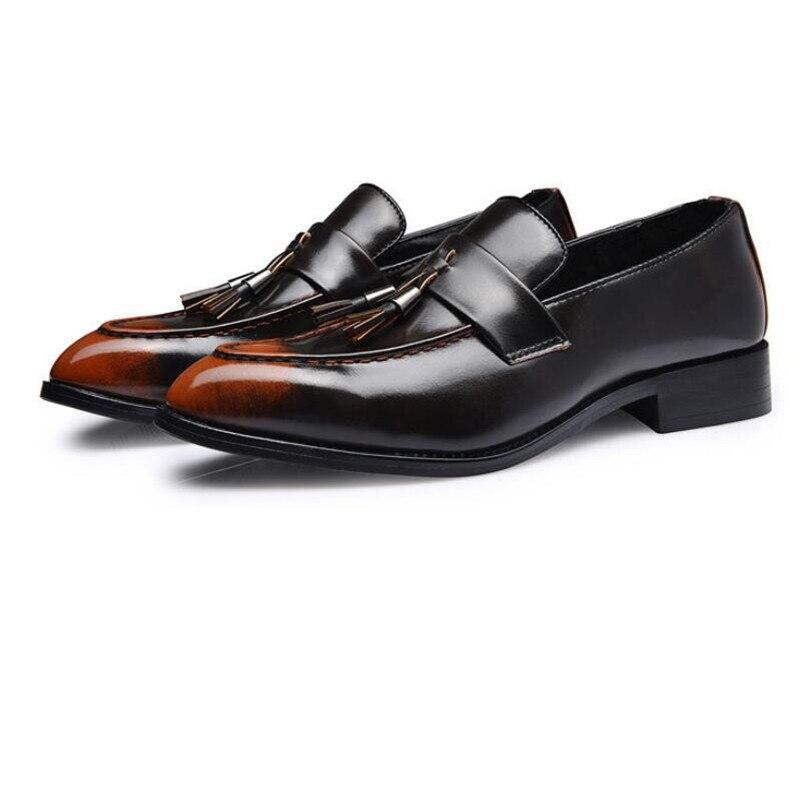 2 Casamento 3 Escritório Elegante De Homens Da Festa Sapatos 4 Negócios Borla 1 Vestido Dedo Mocassins Apontado Formal Couro Plataforma 4q1U6PT