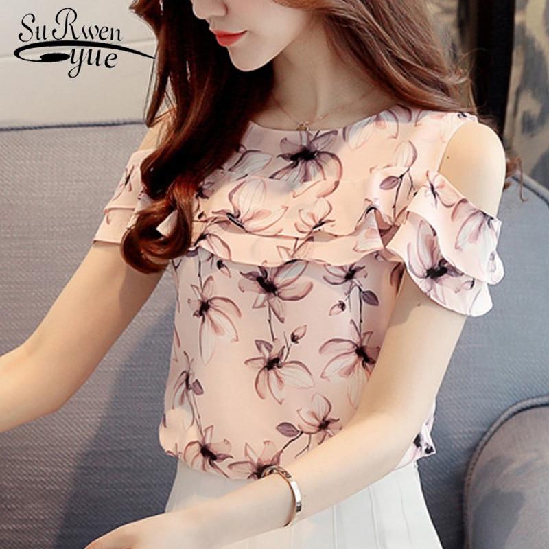 2018 Fashion Print Chiffon Women Blouse Shirt Short Sleeve Summer Women Tops Sweet Women's Clothing Blusas Women Shirt 62G 30