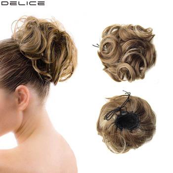 Delice Women Grils Curly Chignon Elastic Rubber Band Drawstring Fake Hair Bun Clip In Synthetic Hairpieces