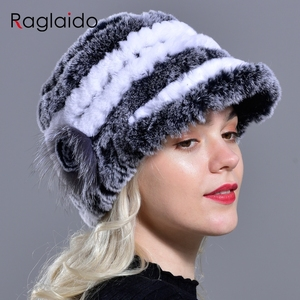Image 1 - Raglaido Tavşan Kürk Kap Şapkalar Kadınlar Kış Çiçek Gerçek Rex Kürk Şapka Elastik Beanies Sıcak Moda Bayan Kar Şapka LQ11205