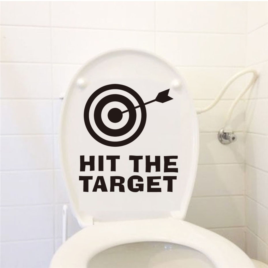 Hit The Target Funny Toilet Sticker For Home Office Hotel Diy Vinyl Waterproof adesivos de paredes Home Decal Wallpaper Sticker