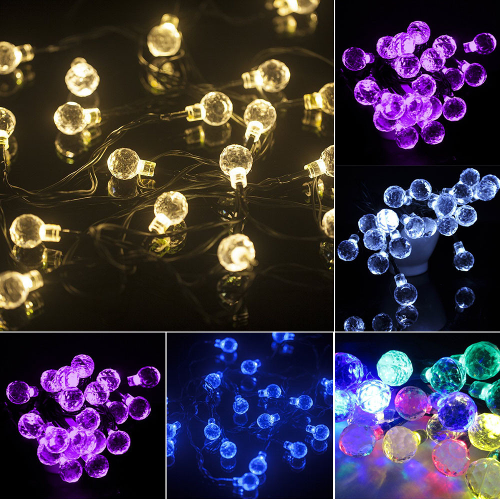 Diligent 100% Brand New High Quality 6.5m 30led Solar Crystal Ball Light String Christmas Wedding Party Decoration Drop Shipping Bright Luster Lights & Lighting