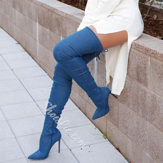 hot selling denim blue thigh high boots sexy pointed toe over the knee high heel boots 2017 spring stretch fabric long boots