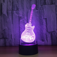 3D Visual LED Fashion Music Electric Guitar Shape Table Lamp USB 7 Colors Changing NightLight Gifts
