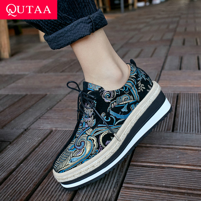 QUTAA 2019 Women Shoes Kid Suede Wedges Heel Lace-Up Round Toe Embroidery Mixed Color Casual Comfortable Ladies Shoes Size 34-39QUTAA 2019 Women Shoes Kid Suede Wedges Heel Lace-Up Round Toe Embroidery Mixed Color Casual Comfortable Ladies Shoes Size 34-39