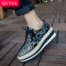 QUTAA 2019 Women Shoes Kid Suede Wedges Heel Lace-Up Round Toe Embroidery Mixed Color Casual Comfortable Ladies Shoes Size 34-39