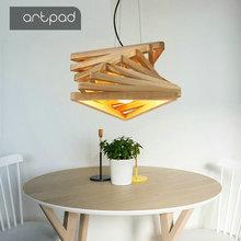 Nordic Wood Pendant Light Art Design Living Room Dining Bedroom Home Interior Lustre Lighting LED Wooden Hanging Lamp