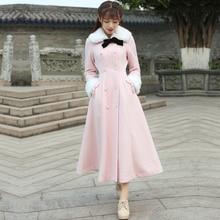 2016 Winter Woolen Coat Women Vintage Retro Pink Single Breasted Button Detachable Long Coat Jacket real
