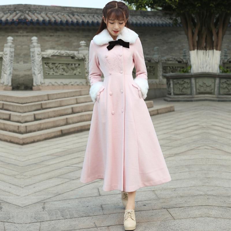 2016 Winter Woolen Coat font b Women b font Vintage Retro Pink Single Breasted Button Detachable