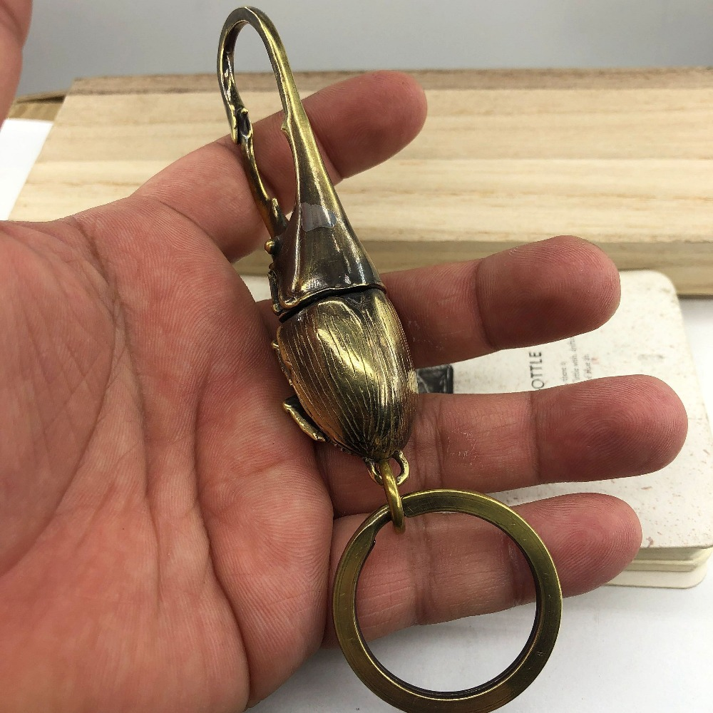 Multifunction Outdoor Tools EDC Creative Personality Key Chain Brass Beetle Shape Keyring